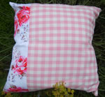Gingham & floral cushion