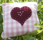 Small Gingham pink heart cushion