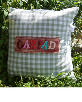 Gingham cariad cushion
