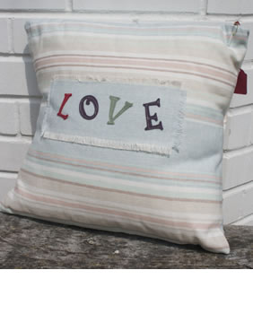 Striped linen fabric love cushion
