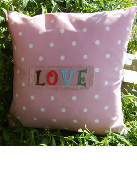 Love on pink  polka dot