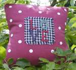 Small Red Dotty Love cushion