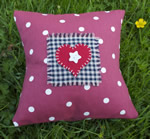 Small Red Dotty Heart cushion