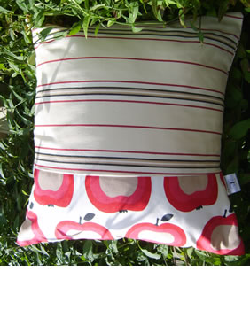 Retro style apple & stripy fabric cushion