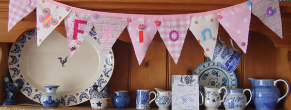 Personalised bunting in pink!
